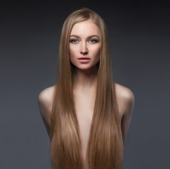 sexy girl with long healthy hair