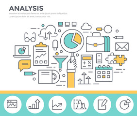 Business analysis concept illustration, flat design, thin line style