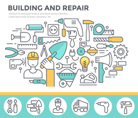 Building and home repair concept illustration, thin line flat design