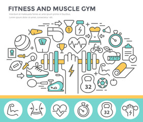 Fitness and muscle gym concept illustration, thin line flat design