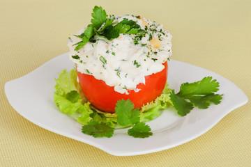 stuffed tomato cheese, mayonnaise filling