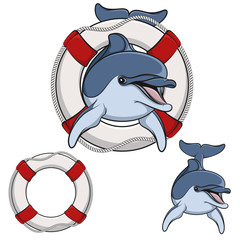 Colored vector illustration of a dolphin and a life buoy.