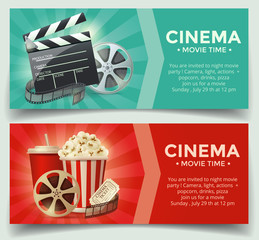 Cinema concept poster template with popcorn bowl, film strip and tickets, realistic detailed vector illustration