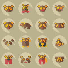 Flat concept, set modern design with shadow pandas