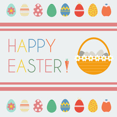 Happy Easter Greeting Card. Easter Eggs and Easter Basket with Daisies. Easter Eggs icon set. Exclamation Mark as Carrot. Digital background vector illustration.