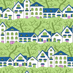 Seamless pattern of white houses and green trees.