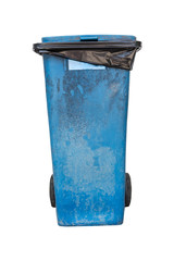 Blue garbage, trash bin isolated on white background