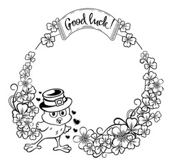 Round frame with funny chicken with outline clover.Vector clip art.