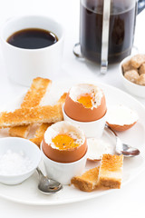 soft boiled eggs, crispy toast and coffee for breakfast