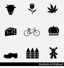 Holland - vector icon set.