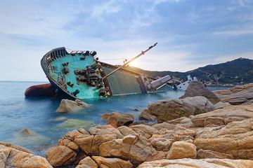 Acrylic Prints Shipwreck shipwreck or wrecked cargo ship abandoned
