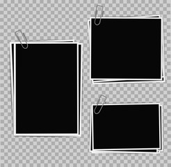 Photo frames composition with clips on transparent background. V