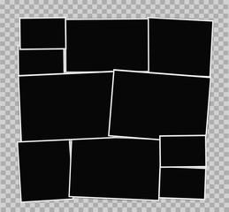 Photo frames album composition on transparent background. Vector