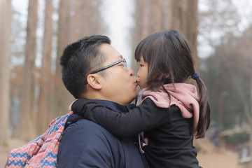 Father kissing his daughter