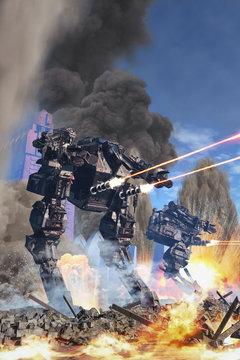 giant robot at battle