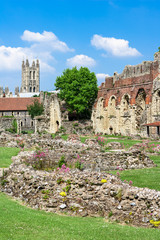 Ruins of  St.Augustines Abbey with Canterbury Cathedral in the b