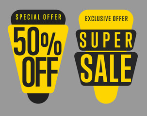 Sale tag vector isolated. Sale sticker with special advertisement offer. Half price tag. Super sale tag.