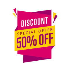 Discount tag vector isolated. Sale sticker with special advertisement offer.