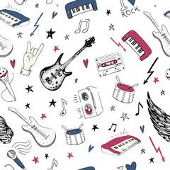 Music symbols. Seamless pattern. rock music background textures