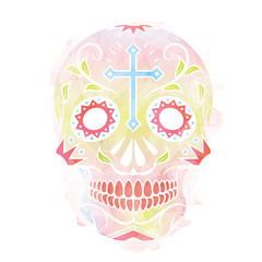 Watercolor vector illustration of Skull the Day of the Death