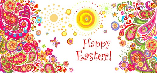 Easter horizontal decorative banner with floral abstract pattern and eggs