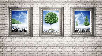Illusory landscapes in ancient carved baguettes on grey stone wall, triptych Wall mural