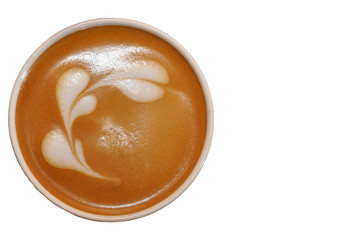 Cup of latte art with hearts from cream isolated on white backgr