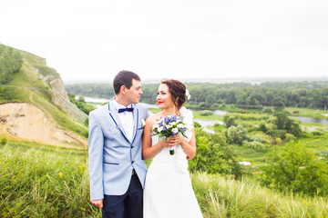 beautiful caucasian couple just married