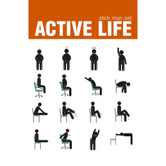 exercises on chair stick man set