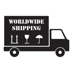 Delivery icon or sign. Worldwide shipping truck. Vector.