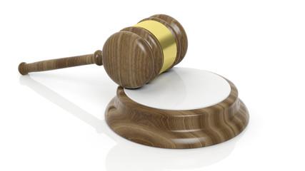 Court hammer on white background