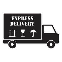 Lorry icon. Express delivery truck. Vector illustration.