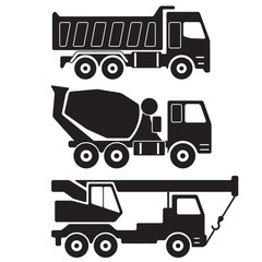Truck icon set. Dump truck. Concrete mixer truck. Truck crane. Vector Illustration.