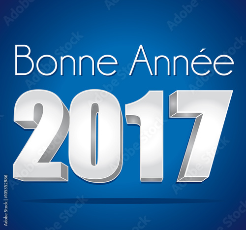 2017 bonne ann e carte de v ux bleue et argent texte en fran ais fichier vectoriel libre de - Texte carte de voeux 2017 ...