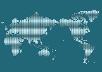 世界地図 ドット イラスト 青(日本中心)