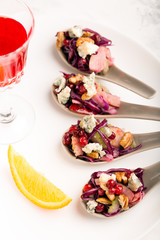 Vegetable salad of cabbage with walnuts