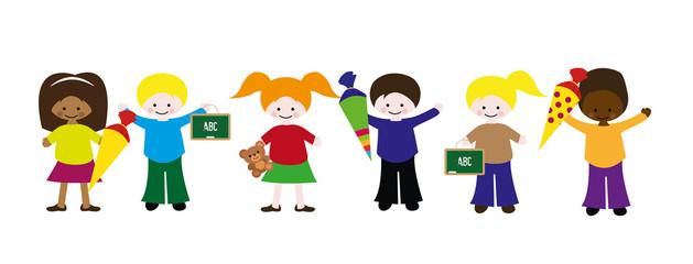 Kinder mit Schultüten und Kreidetafeln Vektor