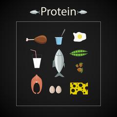 protein food icon set