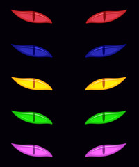 Vector spooky eyes set isolated on black background