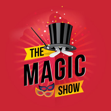 The magic show. Vector illustration
