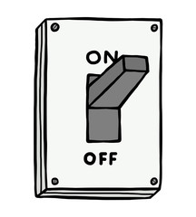 On electric switch / cartoon vector and illustration, hand drawn style, isolated on white background.