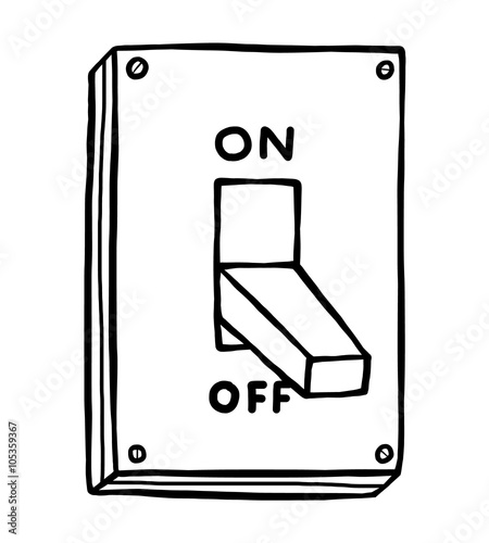 electric switch / cartoon vector and illustration, black and white, hand  drawn, sketch style, isolated on white background