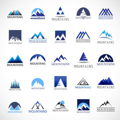 Mountain Icons Set-Isolated On Gray Background-Vector Illustration,Graphic Design.For Web, Websites, App, Print, Presentation Templates, Mobile Applications And Promotional Materials. Different Shape