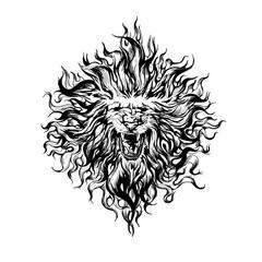 Hand drawn  vintage graphic lion head.