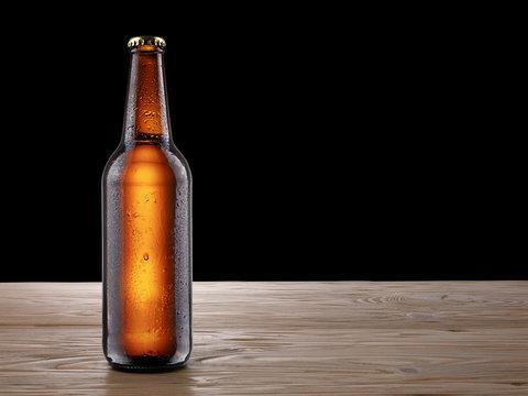 Beer bottle on wooden table mockup