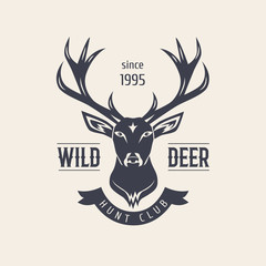 Deer head. Premium retro vintage symbols. Design Element in Vintage Style for Logotype, Label, Badge, T-shirts and other design. Hunting club.