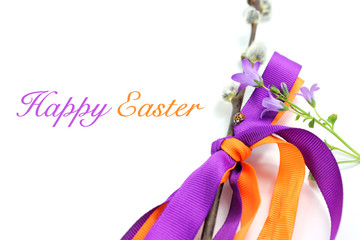 Happy easter background whit bellflower and ladybug