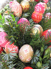 Easter Background. Easter Eggs decorated by children in the kind