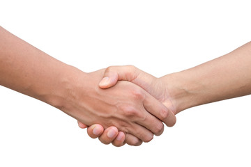 Closeup of two businessmen, lawyers or politicians shaking hands to celebrate a successful agreement with one of them holding the other hand in his pocket. Isolated over white background.