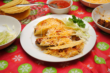 Home Made Tacos and Ingredients